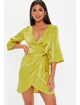 Chartreuse Satin Tie Skater Dress by Missguided