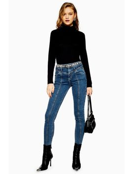 Mid Blue Panelled Jamie Jeans by Topshop