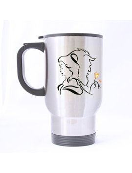 Custom Mugs Artist Beauty The Beast Custom Personalized Silver Travel Mug Sports Bottle Coffee Mugs Office Home Cup 14 Oz Two Sides Printed by Custom Mugs