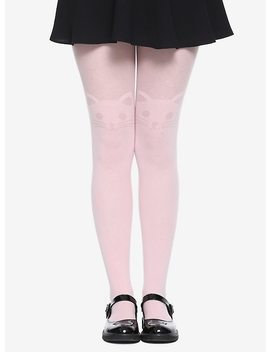 Blackheart Pink Kitty Faux Thigh High Tights by Hot Topic
