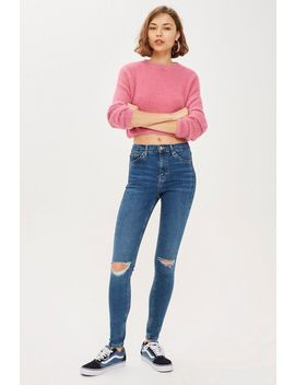 Mid Blue Mini Rip Jamie Jeans by Topshop
