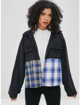 Contrast Plaid Front Corduroy Shirt   Black L by Zaful