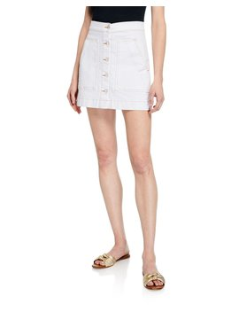 Getty Button Front Denim Cargo Skirt by Veronica Beard