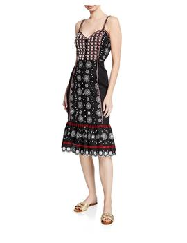 Giuliana Embroidered Button Front Midi Dress by Veronica Beard