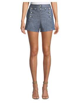 Hoya Viscose Linen High Waist Shorts by Veronica Beard