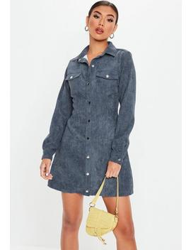 Blue Cord Skater Shirt Dress by Missguided