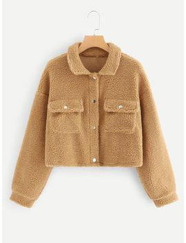 Single Breasted Pocket Side Teddy Jacket by Romwe