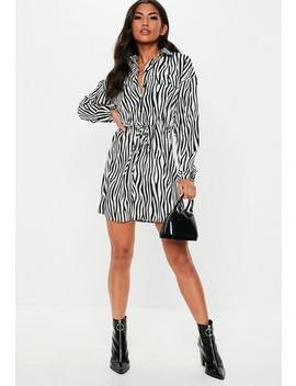 Black Zebra Print Tie Waist Shirt Dress by Missguided