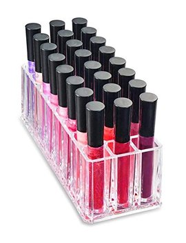 Dust Free Acrylic Lip Gloss Organiser Lipstick Holder Case Makeup Brush Organizer (Provides 24 Space Storage) by Flymei