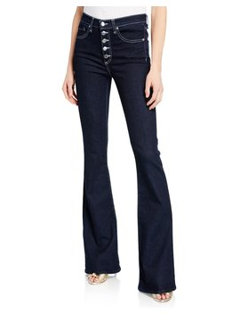 Beverly High Rise Skinny Flare Jeans With Button Fly by Veronica Beard