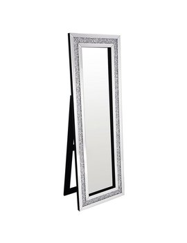 Best Quality Furniture Rectangular Silver Standing Crystal Floor Mirror by Generic