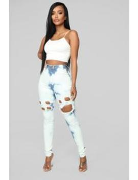 Up In The Clouds Skinny Jeans   Bleach Blue Wash by Fashion Nova