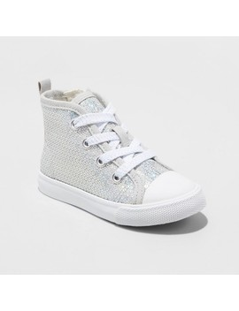 Toddler Girls' Henley High Top Sneakers   Cat & Jack™ Silver by Cat & Jack