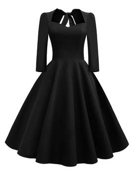 50s Bow Tie Back Flare Dress by Sheinside