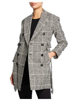 Augusta Double Breasted Check Coat by Veronica Beard