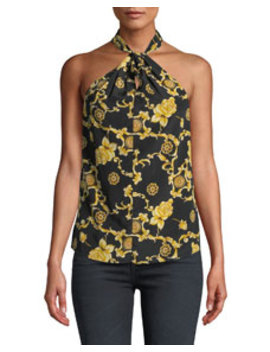 Adela Printed Silk Keyhole Halter Blouse by Veronica Beard