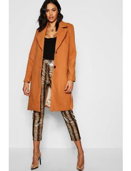 Belted Collared Coat by Boohoo