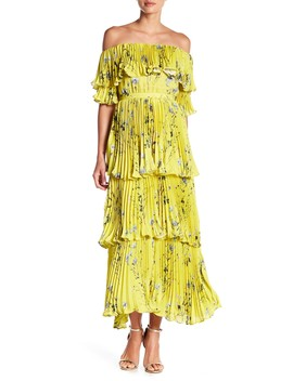 Jess Off The Shoulder Pleated Vacation Dress by Few Moda