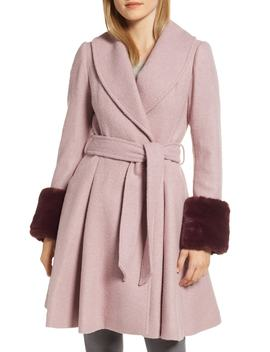 Faux Fur Cuff Skirted Coat by Ted Baker London
