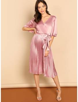 Waist Belted Wrap Dress by Shein