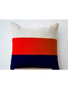 Colorblock Pillows, Navy Orange And Ivory Pillow, Navy Decor, Cream Decor, Orange Decor Modern Burlap Pillow, Farmhouse Decor Beach Decor by Etsy