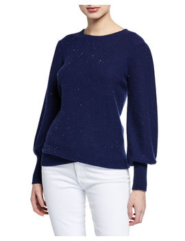Cashmere Sequined Balloon Sleeve Sweater by Neiman Marcus Cashmere Collection