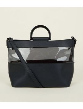 Black Clear Panel Plastic Handle Tote Bag by New Look