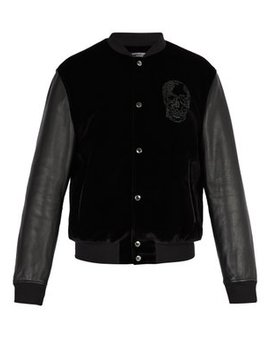 Velvet And Leather Bomber Jacket by Alexander Mc Queen