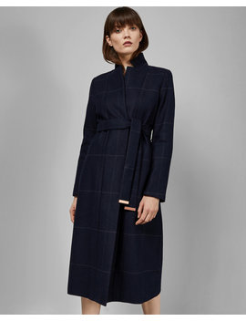 Checked Cuff Detail Trench Coat by Ted Baker