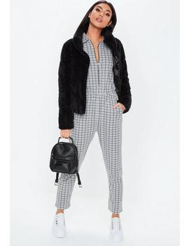 Gray Zip Grid Print Jumpsuit by Missguided