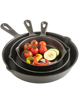 "Von Shef Cast Iron 3 Piece Skillet Pan Set, Pre Seasoned, Oven Safe   6"", 8"", 10""   Suitable For All Hobs Including Induction by Von Shef"