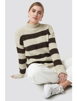 Striped Polo Neck Sweater by Trendyol