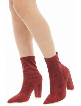 Faux Suede Sock Ankle Booties by Forever 21