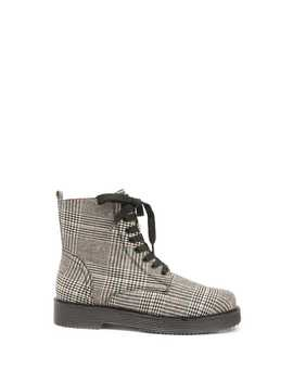 Glen Plaid Combat Boots by Forever 21