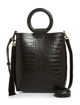 Croc Embossed Tote With Circle Handles by Street Level