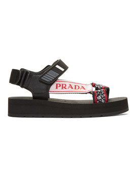 Black & Red Velcro Nomad Sandals by Prada