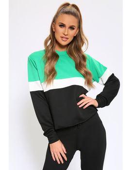Green/Black Colourblock Sweatshirt by I Saw It First