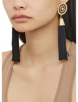Beaded Disc Tassel Earrings by Rainbow