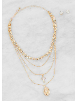 Medallion Layered Necklace With Stud Earrings by Rainbow