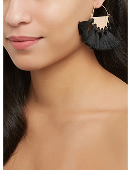 Metallic Tassel Fan Earrings by Rainbow