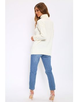 Cream Oversized Roll Neck Jumper by I Saw It First