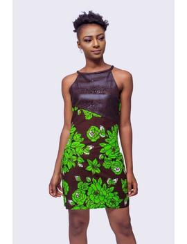 African Print And Faux Leather Dress, Ankara Dress, African Clothing For Women, African Dress, African Clothing, African Women Dress by Etsy