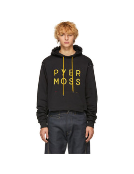 Black Cropped Logo Hoodie by Pyer Moss