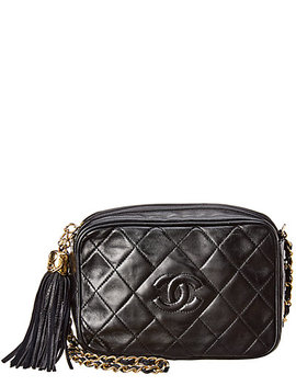 Chanel Black Quilted Lambskin Leather Small Camera Bag by Chanel