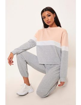 Nude/Grey Colourblock Round Neck Sweatshirt by I Saw It First