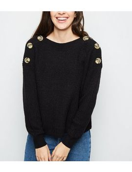 Black Faux Horn Button Shoulder Jumper by New Look
