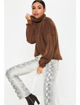 Rust Ribbed Roll Neck Sweater by Missguided