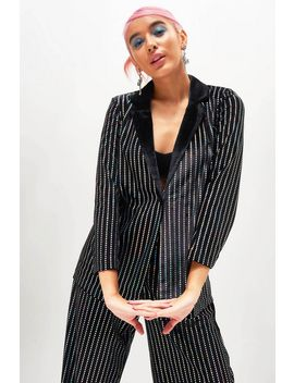 **Sequin Stripe Velvet Suit Jacket By Jaded London by Topshop