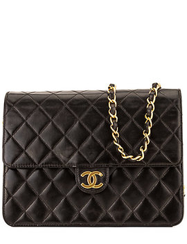 Chanel Black Quilted Lambskin Leather Chain Clutch by Chanel