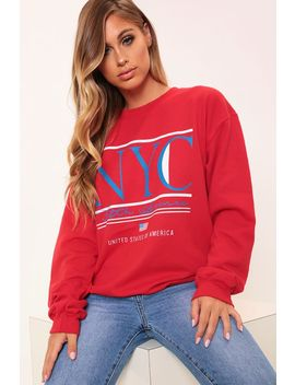 Red Nyc Graphic Oversized Sweatshirt by I Saw It First